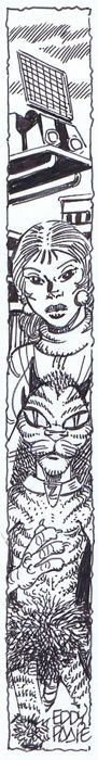 Paape, Eddy - Originele tekening in inkt voor ex-libris - Carol Detective - [jaren '90 / '00] - W.B.