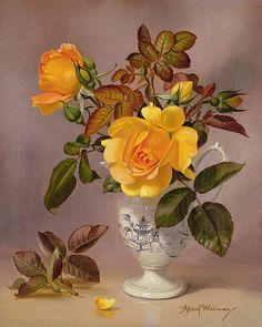 Orange Roses In A Blue And White Jug Print By Albert Williams