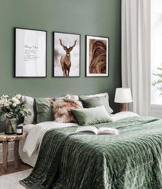 Home Interior Salas .Home Interior Salas Green And White Bedroom, Green Bedroom Walls, Green Master Bedroom, Green Rooms, Room Ideas Bedroom, Home Decor Bedroom, 60s Bedroom, Bedroom Color Schemes, Bedroom Colors