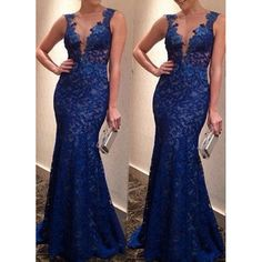 Sexy Lace Plunging Neck Sleeveless Backless Women's Dress, BLUE, XL in Maxi Dresses | DressLily.com