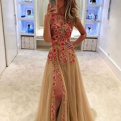 D257 champagne long prom gowns, red rose appliques prom dresses, side slit wedding prom gowns