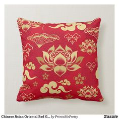 Shop Chinese Asian Oriental Red Gold Lotus Pattern Throw Pillow created by PrintablePretty. Modern Decorative Accents, Red Pillows, Throw Pillows, Custom Pillows, Decorative Pillows, Crystal Room, Cute Home Decor, Asian Home Decor, Pillow Room