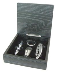 True Black Wood Wine Accessory Gift Set includes stainless steel wine bottle stopper, corkscrew, drip ring, and pour spout in wooden gift box. Gifts For Wine Drinkers, Wine Gifts, Wooden Gift Boxes, Wine Bottle Stoppers, Black Wood, Great Gifts, Ring True, Wine Lover, Gift Sets