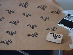 Rubber Stamped Wrapping Paper