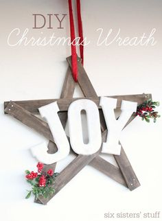 Easy DIY Christmas Wreath for less than $15, and under an hour! Could be done with shims or stir sticks maybe?