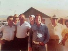 """(L to R) Anthony Spilotro, Allen Dorfman (white T-shirt, and (at the far left with yellow hat) is Al Sarno, the owner of the """"Circus, Circus Casino"""". (Ross Stanger  Collection) (PLEASE DO NOT COPY!!!)"""
