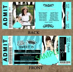 Sweet Sixteen Ticket Invitations | ... Tickets - Theme Parties - Quinceanera Invitations, Sweet Sixteen