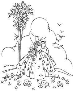 Vintage Women Embroidery Designs: Bo Peep Embroidery Pattern