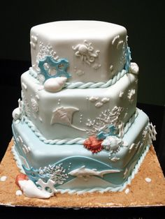 """""""The Deep Seas"""" by Sliceofcake on deviantArt -- """"A wedding cake designed for a couple of diving enthusiasts."""""""