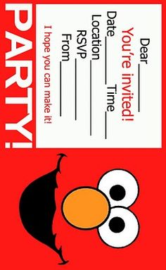 ELMOS SONG Website Free Printable Invites And Some Ideas