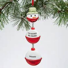 Snowman Fishing Bobber<sup>©</sup> Personalized Ornament Personalized Christmas Ornaments, Diy Christmas Ornaments, Christmas Fun, Christmas Decorations, Rustic Christmas, Christmas Wreaths, Christmas Things, Snowman Ornaments, Christmas Recipes