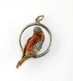 Vintage Chinese Silver Enamel Parrot Macaw Bird on Swing Pendant Charm #CharmorPendant
