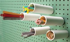 I found myself frozen in front of the PVC pipe section in the hardware store the other day because I couldn't stop thinking of all the things that I could actually make from these strong cylinders. The shape and range of sizing made me realize that there are so many ways to store and organize...
