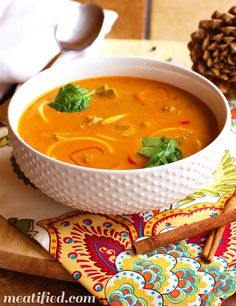 """Moroccan paleo chicken """"noodle"""" soup, from Meatified, http://meatified.com/moroccan-paleo-chicken-noodle-soup/"""