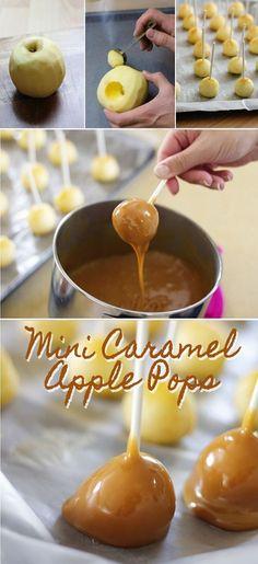 Mini Caramel Apple Pops Recipe   Christmas Party Appetizer Ideas! #christmaspartyideas