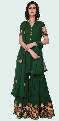 54d3dca4ec Emerald Green Kashmir Inspired Floral Aari Embroidered Gharara Suit Gharara  Designs