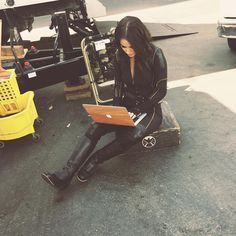 "Chloe Bennet on the set of Agents of Shield – ""When you're a superhero but you still gotta send some emails""."