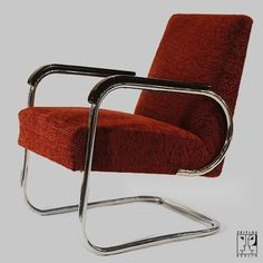 Cantilever tubular steel armchair by Hynek Gottwald in the style of the Bauhaus-Modernism