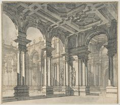 Design for a Stage Set with a Monumental Arcaded Courtyard.