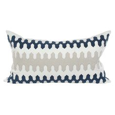 """Amelie Pillow @Zinc_Door Layered with geometric texture, the rectangle Amelie throw pillow artfully blends pattern and color. Its graduated saw tooth style boasts simple shapes for an exciting design. 32""""W x 18""""H 100% Belgium linen Handcrafted with embroidered applique Navy blue, tan and cream Down feather pillow insert included Made in the USA Dry clean only $305"""