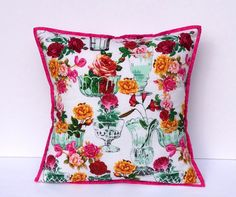 #Home Decor #addasplashofcolour #flowers Vintage Style Decorative Cushion Cover Size 16 by 16 inches Decorative Pillow Cover Bedroom Decor Floral Pillow Vintage Home Decor gifts - pinned by pin4etsy.com