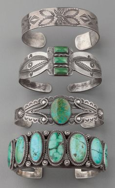 American Indian Art:Jewelry and Silverwork, FOUR SOUTHWEST SILVER BRACELETSc. 1920 - 1940 Image #1