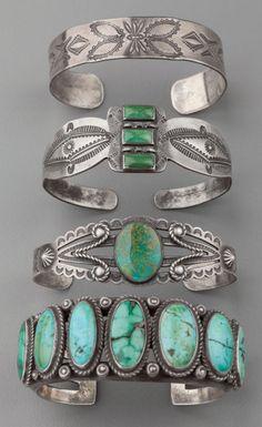 American Indian Art:Jewelry and Silverwork, FOUR SOUTHWEST SILVER BRACELETSc. 1920 - 1940 Image #1