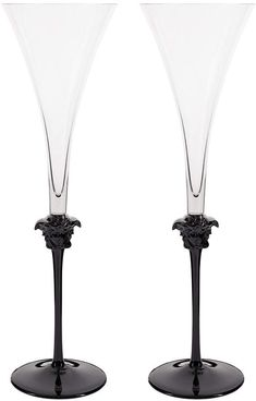 Buy Versace Medusa Lumiere Haze Champagne Flutes - Set of 2 Rich Rich, Champagne Flutes, Serving Dishes, Medusa, A Table, Versace, Crystals, Tableware, Stuff To Buy