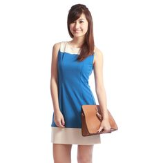 ( PETITE) Oasis Color Block Lampshade Dress Smurf Blue +Cream