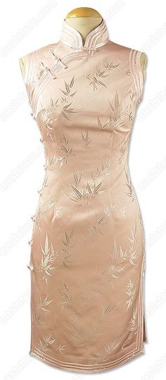 Qian Bamboo Patterned Sleeveless Brocade Cheongsam : EastStore.com