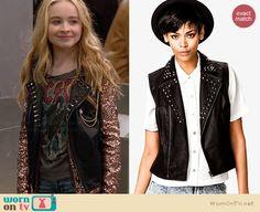 Maya's studded leather vest on Girl Meets World.  Outfit Details: http://wornontv.net/34228/ #GirlMeetsWorld