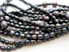 "Honora Tahitian Pearl Necklace Black Freshwater 68"" Long Strand New with Pouch 