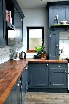 Dark wood kitchen countertops layout 31 ideas for 2019 Blue Gray Kitchen Cabinets, Backsplash For White Cabinets, Refacing Kitchen Cabinets, Kitchen Cabinet Colors, Grey Kitchens, Painting Kitchen Cabinets, Kitchen Colors, Kitchen Countertops, Dark Cabinets