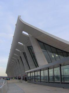Dulles airport, Washington D.C.    Designed by Eeero Saarinen.