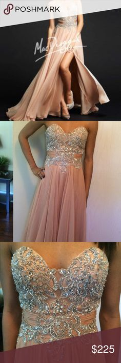 New Nude Mac Duggal Chiffon Dress. Size 2 New nude Mac Duggal chiffon dress that hasn't been worn or altered.  Gorgeous in person with crazy sparkle! Size 2 Mac Duggal Dresses Prom
