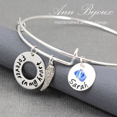 "Personalized Hand Stamped Name Bracelet, ""Forever In My Heart"" Message Bangle, Name with Angel Wing Charm Adjustable Bangle, Mother Bracelet by ANNBIJOUXNEWYORK on Etsy"