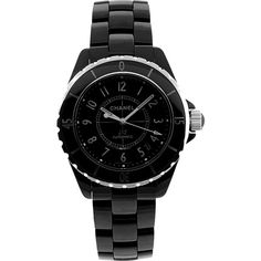 Chanel Watches Women's J12 Watch - Black - Women's Watches ($4,760) ❤ liked on Polyvore featuring jewelry, watches, black, chanel jewellery, chanel, analog watches, chanel jewelry and analog wrist watch