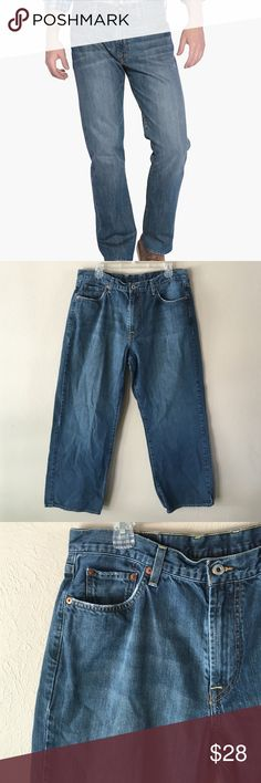 """Lucky Brand dark 181 Bootleg denim jeans Lucky Brand dark/fade wash 181 Bootleg style bootcut denim jeans. Size 36 Short. (W36/L29.) Inseam 29"""". Hips 24.5"""" across at widest part. Leg opening 9.5"""". Bottoms are very mildly distressed. Great condition no stains. Lucky Brand Jeans Bootcut"""