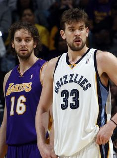 """""""Los Angeles Lakers"""" Pau Gasol and his little brother """"Memphis Grizzlies"""" Marc Gasol during the second half February 1, 2010."""