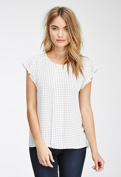 Contemporary Flutter Sleeve Dotted Top | LOVE21 - 2000054358