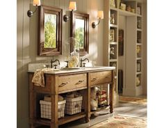 beautiful colors, sink console, built-in shelving, twin recessed medicine cabinets to free counter space, & sconces
