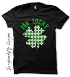 Lucky Shamrock Shirt - Boys St. Patrick's Day Shirt / Newborn Baby Outfit / Womens Celtic Clothes / Toddler Green Tshirt / Plaid Shamrock by Scrapendipitees on Etsy