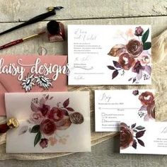 Butter Rum Boho Vellum wrap Wedding Invites by Daisy Designs of Ottawa Wedding Invitation Suite, Custom Wedding Invitations, Wedding Stationery, Invites, Romantic Mood, Wedding Wraps, Burgundy Flowers, Stationery Items, Rose Wedding