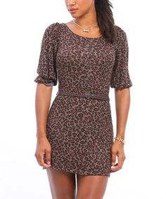 Take a look at this Brown Animal Belted Dress by Buy in America on #zulily today!