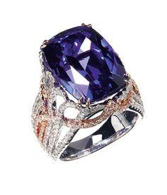 2013 JCK Jewelers' Choice Award Winner: Tanzanite Jewelry : Yael Designs 18k rose and white gold ring with 19.63 ct. tanzanite and 1.71 cts. t.w. diamonds