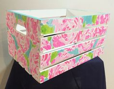 Lilly Pulitzer Inspired Painted Wooden Crate *imperfection by SouthernGirlSolution on Etsy https://www.etsy.com/listing/239040220/lilly-pulitzer-inspired-painted-wooden