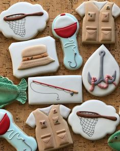 This Birthday guy loves to fish. Fish Cookies, Crazy Cookies, Fancy Cookies, Iced Cookies, Cute Cookies, Easter Cookies, Birthday Cookies, Cookies Et Biscuits, Sugar Cookies