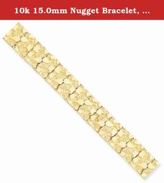 10k 15.0mm Nugget Bracelet, Best Quality Free Gift Box. This adds a sense of charm to your favorite collection.10k 15.0mm NUGGET Bracelet. Model No.: 10N15-8. 10k Yellow Gold. Product Type: Jewelry. Jewelry Type: Bracelets. Material: Primary: Gold. Material: Primary - Color: Yellow. Material: Primary - Purity: 10K. Sold By Unit: Each. Chain Length: 8 in. Chain Width: 15 mm. Got questions about this item? If you wish to know any additional info or have any additional questions regarding…