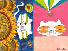 """Saatchi Art Artist daniel levy; Painting, """"cats with spider and sonflawers"""" #art"""