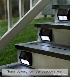 Set Of Four Solar Step Lights: These would be great for the front steps at our new house - or the steps to the back deck :) outdoor deck Outdoor Projects, Home Projects, Solar Step Lights, Solar Lights For Deck, Path Lights, Exterior Solar Lights, Battery Powered Outdoor Lights, Fairy Lights, Solar Licht